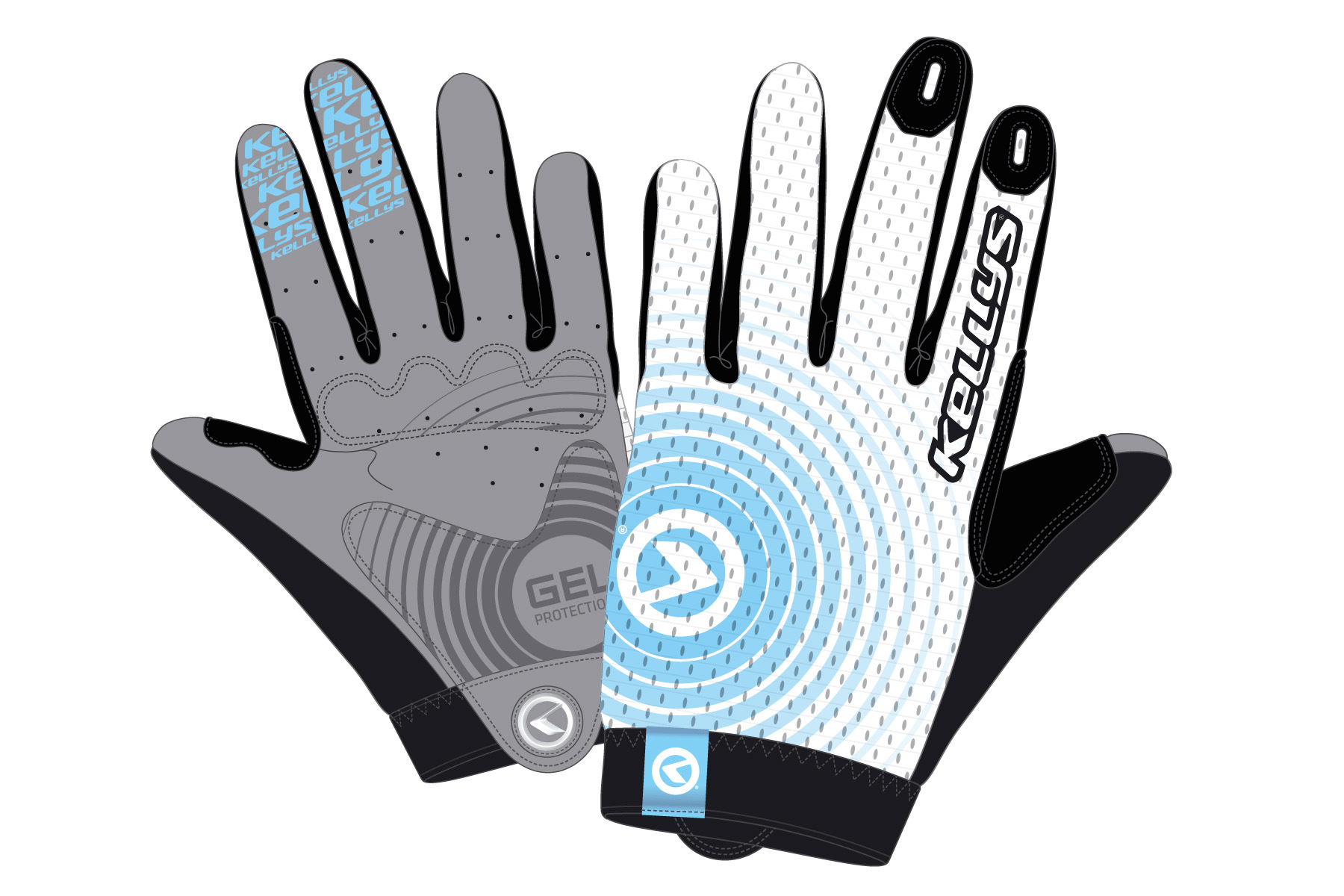 Handschuhe INSTINCT long white-blue L - Handschuhe INSTINCT long white-blue L